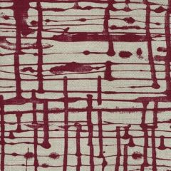 AC993-04 TWILL Berry on Oatmeal Quadrille Fabric