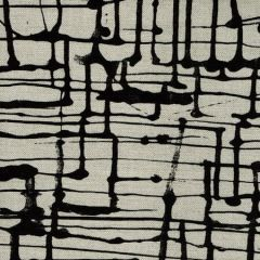 AC993-10 TWILL Black on Oatmeal Quadrille Fabric