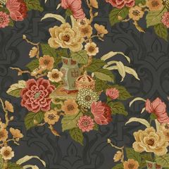 AI40000 Dynasty Floral Metallic Ebony Seabrook Wallpaper