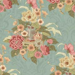AI40001 Dynasty Floral Metallic Blue Mist Seabrook Wallpaper