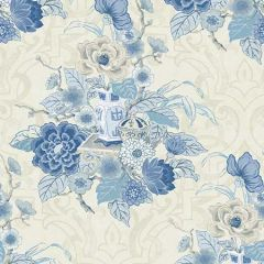 AI40002 Dynasty Floral Metallic Linen and Blue Seabrook Wallpaper