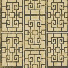 AI40200 Dynasty Lattice Metallic Gold and Ebony Seabrook Wallpaper