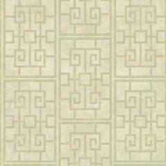 AI40201 Dynasty Lattice Metallic Pearl and Mint Seabrook Wallpaper