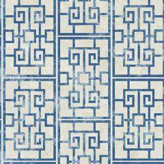 AI40202 Dynasty Lattice Metallic Pearl and Azure Blue Seabrook Wallpaper