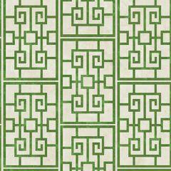 AI40204 Dynasty Lattice Metallic Pearl and Emerald Green Seabrook Wallpaper