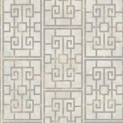 AI40208 Dynasty Lattice Metallic Pearl and Gray Seabrook Wallpaper