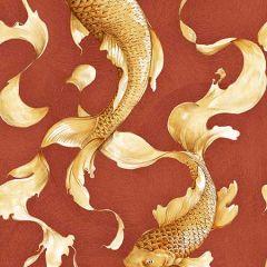 AI40601 Koi Fish Metallic Gold and Crimson Seabrook Wallpaper