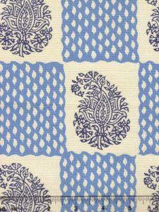 5090-02 BANGALORE New Blue Navy on Tint Quadrille Fabric