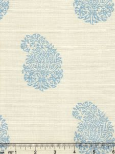 6040-05 BANGALORE PAISLEY New Blue on Tint Quadrille Fabric