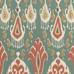 BW45090-4 IKAT BOKHARA Teal GP & J Baker Wallpaper
