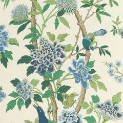 BW45091-1 HYDRANGEA BIRD Emerald Blue GP & J Baker Wallpaper