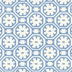 8150WP-04 CEYLON BATIK Medium Blue On Almost White Quadrille Wallpaper