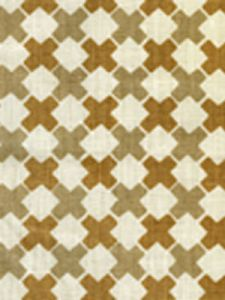 4120-05 DOUBLE CROSS Taupe with Camel II Quadrille Fabric