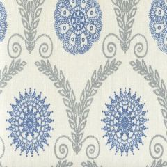 HC1310-03 JEANNE ALL OVER Silver Metallic Blue Quadrille Fabric