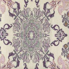 HC1980C-06 ISFAHAN Purple Lilac Turquoise on Cream Quadrille Fabric