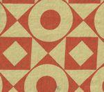 HC1400T-10 CIRCLES & SQUARES REVERSE Tomato on Tan Quadrille Fabric