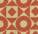 HC1370T-10 CIRCLES & SQUARES Tomato on Tan Quadrille Fabric