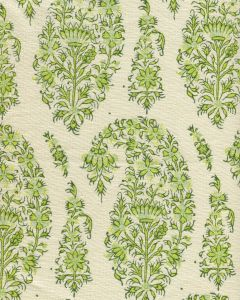 HC1955C-08 KASHMIR PAISLEY Green on Cream Linen Quadrille Fabric