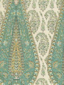 HC1950C-07 KASHMIR PAISLEY LARGE Turquoise on Cream Linen Quadrille Fabric