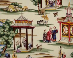 16264-001 SHANGHAI Multi On Cream Scalamandre Fabric