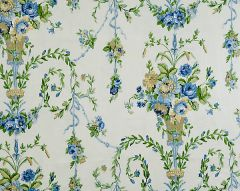 16451-001 ARABELLA Blues, Golds Greens On Ecru Scalamandre Fabric