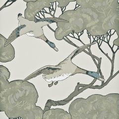FG066-J80 FLYING DUCKS Silver Taupe Mulberry Home Wallpaper