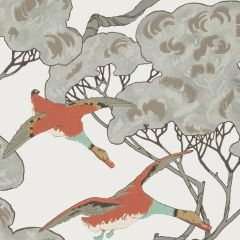 FG090-J87 FLYING DUCKS Coral Clay Mulberry Home Wallpaper