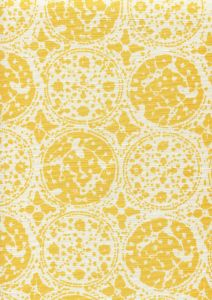 7170-04 BODRI BATIK Yellow on Tint Quadrille Fabric