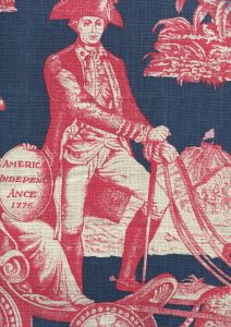 302290F-CU INDEPENDENCE TOILE Red Flag Blue on Linen Quadrille Fabric