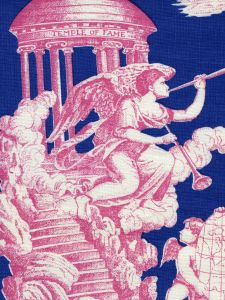 302283F-CU INDEPENDENCE TOILE Rose Navy on Linen Quadrille Fabric