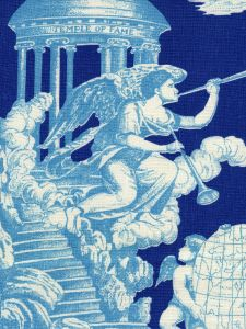 302281F-CU INDEPENDENCE TOILE Turquoise Navy on Linen Quadrille Fabric