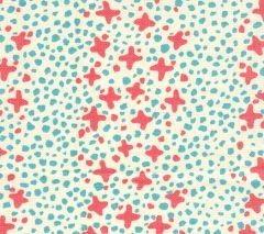 AC220-02 JACKS II Shrimp Turquoise Dots on Tint Quadrille Fabric