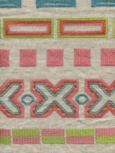 020160T MAGDALENA EMBROIDERY Pink Orange Green Turquoise  Quadrille Fabric