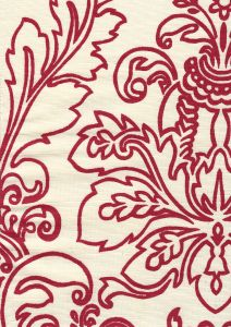 302755F MONTY OUTLINE Dark Red on Tint Quadrille Fabric