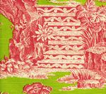 301961F PARADISE GARDEN Rose on Chartreuse Quadrille Fabric