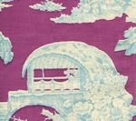 301962F PARADISE GARDEN Turquoise on Lilac Quadrille Fabric