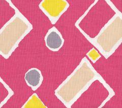 AC117-02W SAHARA MULTI COLOR Magenta Peach YellowLime on White Quadrille Fabric