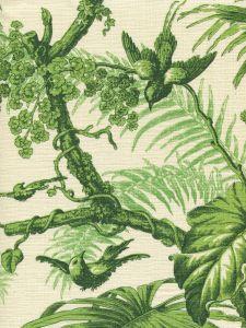 306196F TROPIQUE Multi Greens on Tint Quadrille Fabric