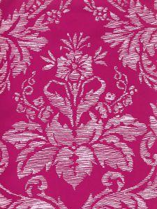 302310V-05VV VICTORIA ON VENETIAN VELVET White on Hot Pink Quadrille Fabric