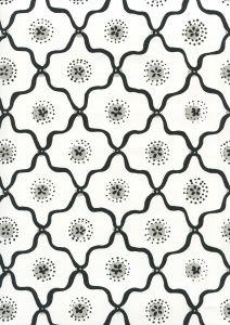 306320W-09WWP LONGFELLOW Black,Grey On White Quadrille Wallpaper