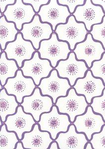 306320W-05WWP LONGFELLOW Purple Lilac On White Quadrille Wallpaper