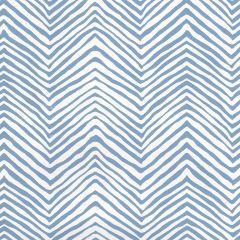 AP303-09PV PETITE ZIG ZAG Slate Blue On White Vinyl Quadrille Wallpaper