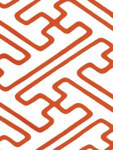 AP207-08 SAYA GATA Orange Almost White Quadrille Wallpaper
