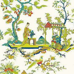 SC 0011WP81212 WP81212-011 CH'IN LING Multicolor On Ivory Scalamandre Wallpaper