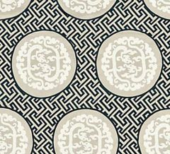 27215-001 DRAGON'S FRET EMBROIDERY Black Tan Scalamandre Fabric