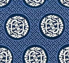 27215-002 DRAGON'S FRET EMBROIDERY Midnight Scalamandre Fabric