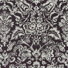 16598-003 MANSFIELD DAMASK PRINT Graphite Silver Scalamandre Fabric