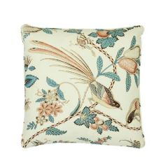 """SO17595004 CAMPAGNE Schumacher Pillow-18"""" x 18""""-Peacock and Rouge"""