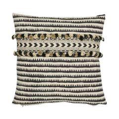 "SO17797104 CORFU STRIPE Schumacher Pillow-18"" x 18""-Black"