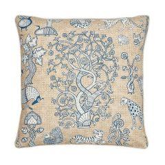 "SO17832006 ANIMALIA Schumacher Pillow-22"" x 22""-Blue and Natural"